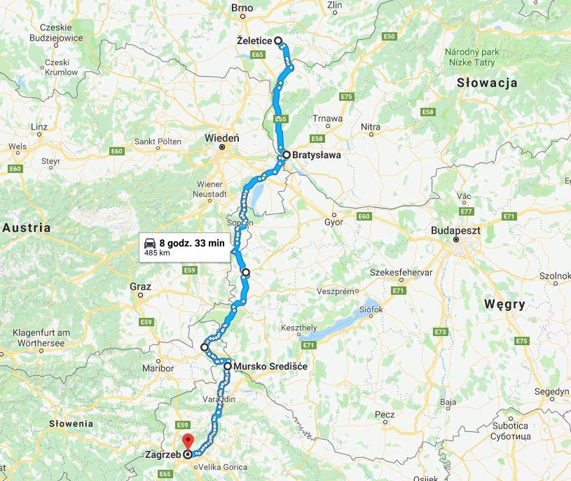 Bałkany samochodem: trasa do Chorwacji. Mapa. Trasa przez Czechy, Słowację - Bratysławę do Zagrzebia.