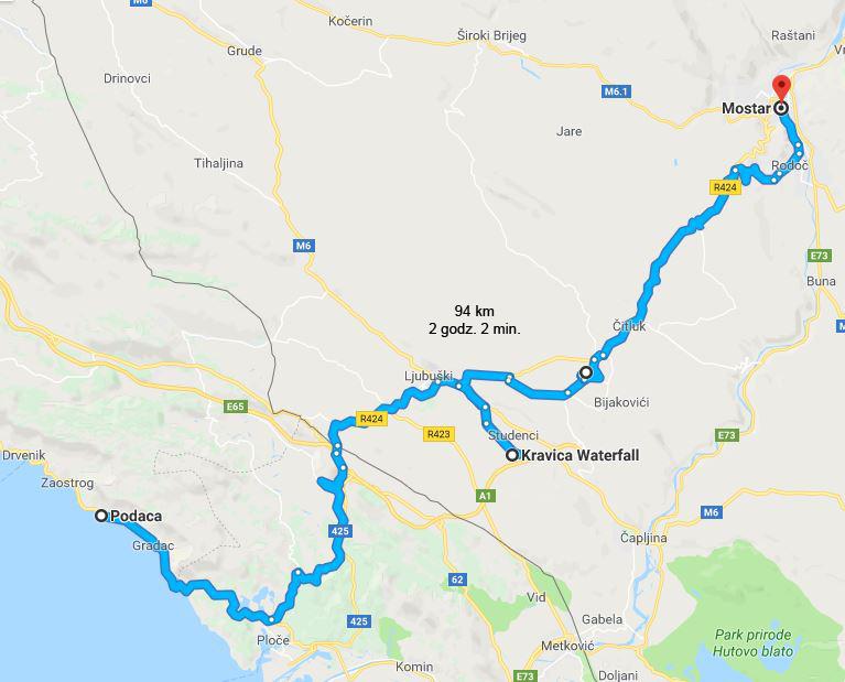 Wybrzeże Chorwacji, co warto zobaczyć w Chorwacji, atrakcje Bośni i Hercegowiny, co warto zobaczyć w Bośni i Hercegowinie - trasa z Podacy do Mostaru przez wodospady Kravica i Medżugorie. Podróż przez Bałkany samochodem.
