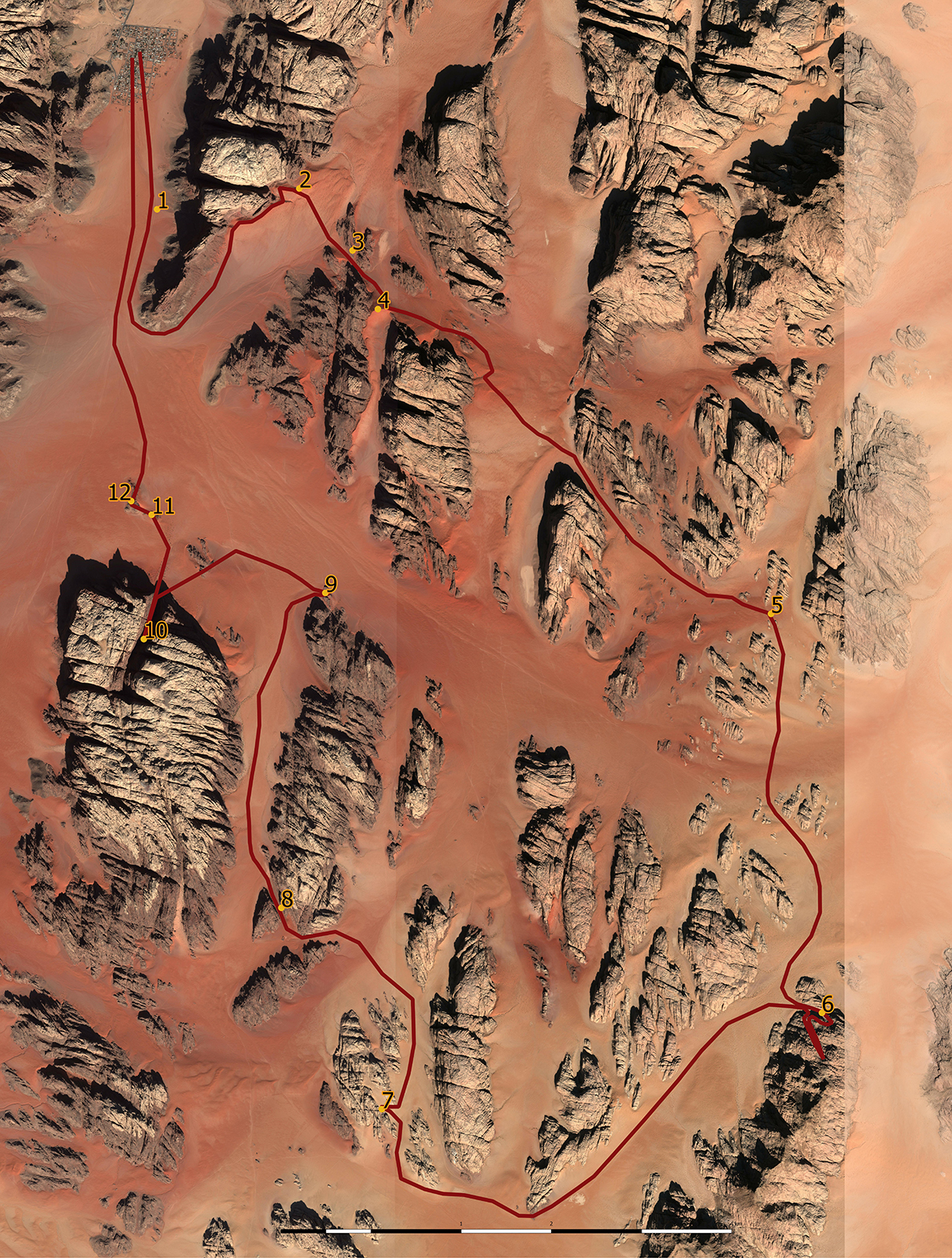 Wadi Rum trekking map, mapa szlaków po pustyni Wadi Rum, mapa Wadi Rum